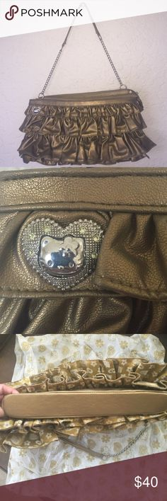 Hello Kitty Purse Gold Ruffled Hello Kitty Evening Bag with Silver  Accents. Never Used. With Dust Bag. Rare and Limited Edition!!!  Hello Kitty Bags