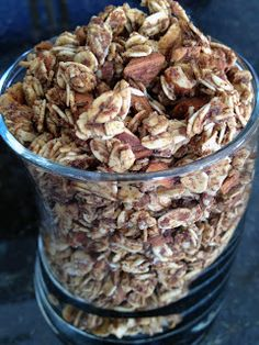Cinnamon Almond Granola      1 cup rolled oats  40g or 1/4 cup whole raw almonds, then crushed after measuring  1/2 tsp brown sugar  3 tbsp stevia  1 tbsp ground flaxseed  1-1/2 tsp cinnamon  2 tsp agave nectar  2 tbsp applesauce, unsweetened   Dash of salt (1/16-1/8 tsp)