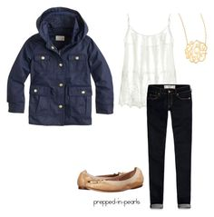 Classic School Outfit by prepped-in-pearls on Polyvore featuring polyvore, fashion, style, Velvet, Abercrombie & Fitch, Tory Burch, Jennifer Zeuner and J.Crew
