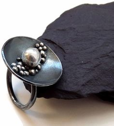 Sterling Silver Granulated Ring - Sliver jewelry - Oxidized ring - Handcrafted by Kailajewellery on Etsy