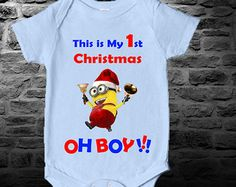 Minion clothing Baby Bodysuit-This is My 1st Christmas, Funny, Baby Vest, Newborn Bodysuit, Personalized, Boys, Girls, Despicable Me