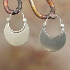 Larger Crescent Moon Earrings Hoop Earrings  by BobsWhiskers, $52.00 Sterling Silver, handmade