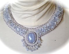 Bead Embroidered Necklace with fringe Blue Lace by bjswearableart, $210.00