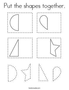 Put the shapes together Coloring Page - Twisty Noodle Preschool Homework, Preschool Activities, Shape Coloring Pages, School Fun, School Ideas, Math Boards, Teaching First Grade, New Shape, Kids Prints