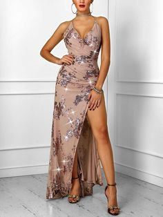 High Slit Ruched Crisscross Backless Sequin Party Dress Shop- Women's Best Online Shopping - Offering Huge Discounts on Dresses, Lingerie , Jumpsuits , Swimwear, Tops and More. Open Back Maxi Dress, Maxi Dress With Slit, Boutique Party Dresses, Fishtail Maxi Dress, Sequin Party Dress, Party Dresses For Women, Buy Dress, Pattern Fashion, Sexy