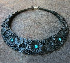 Blue flower heart polymer clay bib necklace by adrianaallenllc, $50.00
