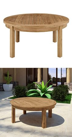 48 Trendy Ideas For Round Wood Patio Table Ideas Curved Patio, Flagstone Patio, Rustic Patio, Wood Patio, Small Backyard Patio, Diy Patio, Round Patio Table, Outdoor Tables, Outdoor Decor