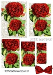 Pretty red roses on vintage lace pyramids on Craftsuprint - View Now!