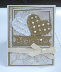 Congratulations Wedding Card Gold and White Embosed by Paperika, $4.00