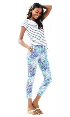 f6fd1c6e9e3 NWT Blue Current Fantasea Shana Stretch Crop Pants Lilly Pulitzer Sz 2 $128  #fashion #