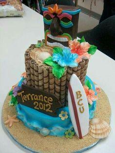 Cake Wrecks - Home - Sunday Sweets: Beachy Keen. I so want to make a cake with the pirouette cookies. Luau Cakes, Ocean Cakes, Party Cakes, Tiki Party, Luau Party, Pirouette Cookies, Hawaii Cake, Hawaian Party, Luau Birthday