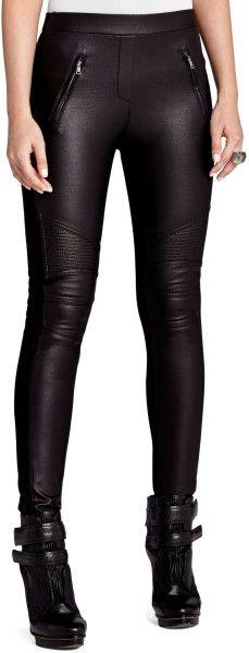 Black Faux Leather Motorcycle Leggings.