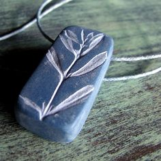 Botanical Leaf Necklace Winter Savory Leaves Denim and Sky Blues by UnaOdd (Bethlehem, PA)