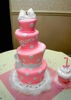 Baby Minnie Mouse Themed Cake and Smash Cake