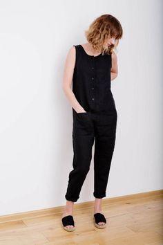 Linen Jumpsuit Sleeveless Jumpsuit Women Overall Linen by OffOn