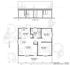 Nepean 2 - Met-Kit Homes - 2 Bedroom Steel Frame Kit Home Floor Plan