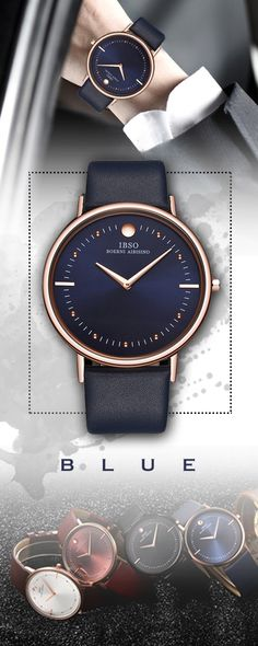 fa6813e2ffb Men s IBSO 7.5MM Ultra-thin luxury Mens Watches - leather band Blue quartz  timepiece