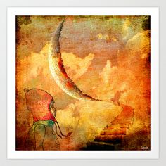 Shelsea under the moon  Art Print by ganech - $17.68
