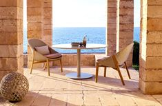 Elio outdoor low chairs in Tricord and teak Luz Natural, Greek Sun God, Yabu Pushelberg, Low Chair, Outdoor Spaces, Outdoor Decor, Parasol, Design Firms, Hand Weaving