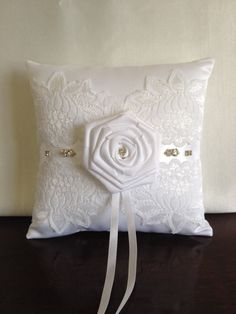 Weddings/White Ring Bearer Pillow/ Bridal by flordelunadesigns