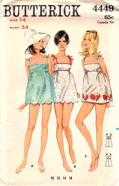 Vintage Original Groovy 1960s Butterick 4449 Beachdress Cover Up Scalloped Hemline Boho Sewing Pattern Bust 34 by bizzielizzies on Etsy