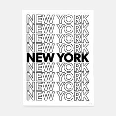New York or nowhere. Fill your room with NYC attitude with this bold black and white print. Edgy, downtown vibes make it the perfect way to rep your fave city, whether you're in Chelsea, Soho, or miles away. Black And White Picture Wall, Black And White Pictures, Black And White Stickers, Black And White Prints, Black And White Design, Bedroom Wall Collage, Photo Wall Collage, Room Posters, Poster Wall