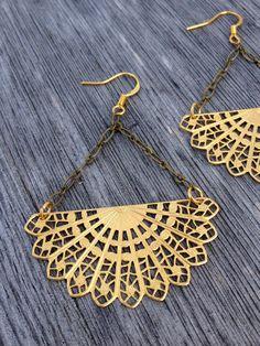 Metal Lace Earrings #jewelry
