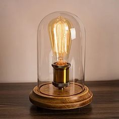 Surpars House Vintage Desk Lamp Glass Shade Table Lamp Edison Bulb Included in Table Lamps. Edison Bulb Light Fixtures, Edison Lighting, Light Bulb Lamp, Desk Light, Edison Bulbs, Antique Lighting, Light Led, Outdoor Lighting, Nightstand Lamp