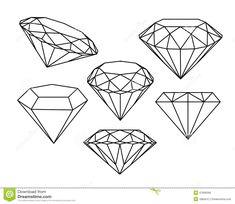 Set of diamonds icons. Illustration of diamond - 47606566 Tattoo Design Drawings, Pencil Art Drawings, Tattoo Sketches, Juwel Tattoo, Tattoo Outline, Diamond Tattoo Designs, Diamond Tattoos, Stencils Tatuagem, Tattoo Stencils