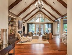 45 Beautiful Living Room Decorating Ideas (Pictures) Upscale living room with vaulted ceiling, wood flooring and fireplace Vaulted Living Rooms, Home Living Room, Living Room Designs, Room Additions, Beautiful Living Rooms, Ceiling Design, Ceiling Ideas, Wall Design, Great Rooms