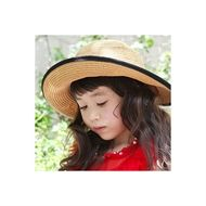 Classic straw sunhat trimmed with contrast black taping and bow