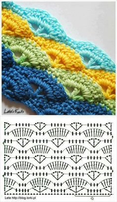 Great crochet fan stitch diagram.