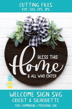Welcome Signs Front Door, Front Door Decor, Wooden Door Signs, Wood Signs, Pineapple Studios, Embroidery Files, Door Hangers, Wood Projects, Free