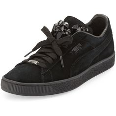 Puma Basket Jeweled Suede Sneaker (€110) ❤ liked on Polyvore featuring shoes, sneakers, black, suede flats, black round toe flats, lace up sneakers, round toe flats and black suede shoes