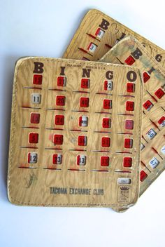 Vintage Set of Three Bingo Cards from Pla-Mor by millesimedesigns