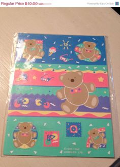 Spring Fling Sale 25% Off Vintage Sanrio Tweedle Dee Just for fun bear Stickers New sheet never opened