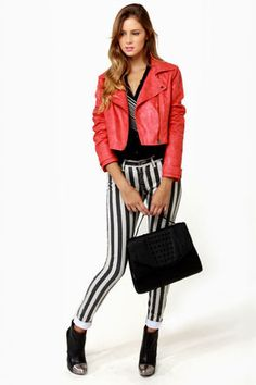 Lucca Couture Escape from Alcatraz Striped Skinny Jeans at LuLus.com! #lulusrocktheroad