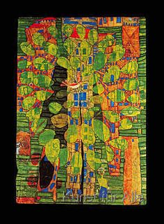 Friedensreich Hundertwasser - singing bird on a tree in the city