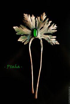 Купить гребень с зеленой каплей - зеленый, гребень для волос, медный гребень, медный лист Fall Jewelry, I Love Jewelry, Stone Jewelry, Jewelry Making, Turquoise Jewelry, Silver Jewelry, Handmade Accessories, Hair Accessories, Antique Jewelry