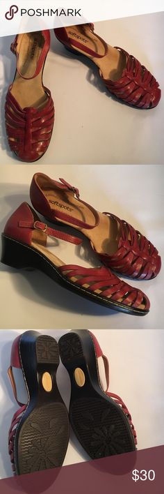 """Soft Spot Huarache sandals nwot Red leather huaraches from Softspots. New without tag. Wedge measures 2"""". Softspots Shoes Sandals"""