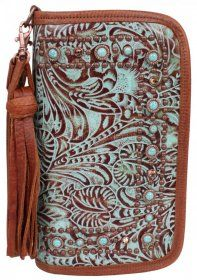 Double J Saddlery - Turquoise/Brandy Floral Clutch Organizer - CO124