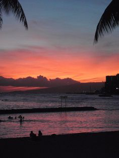 Beautiful sunset at Waikiki beach.
