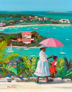 'Cruz Bay' by Shari Erickson African American Art, African Art, Umbrella Art, Caribbean Art, Afro Art, Tropical Art, Beach Art, Love Art, Land Scape