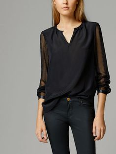 SHIRT WITH SHEER DETAILS - New - WOMEN - United States