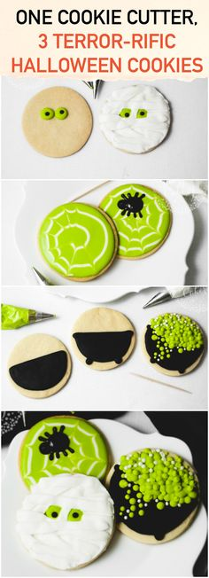 Halloween Cookies for the Win! If you have a regular circle cookie cutter, you can make a display of three CUTE Halloween cookies!If you have a regular circle cookie cutter, you can make a display of three CUTE Halloween cookies! Halloween Desserts, Postres Halloween, Halloween Cookies Decorated, Halloween Sugar Cookies, Birthday Desserts, Easy Halloween Cakes, Cute Halloween Food, Halloween Cookie Recipes, Halloween Cookie Cutters