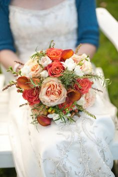 bouquet - I love the cream orange and green…beautiful! I want these colors used in the reception area