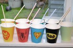 Superhero birthday party cups - Cadenza Bella 3rd Birthday Parties, Birthday Ideas, Girl Superhero Party, Party Cups, Party Ideas, Tableware, Holiday, Kids, Young Children