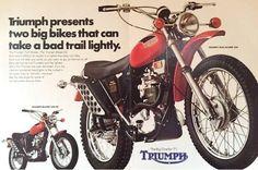 1971 Triumph Trail Blazer 250 & Blazer – two big bikes that can take a bad trail lightly British Motorcycles, Triumph Motorcycles, Vintage Motorcycles, Triumph Street Triple, Triumph Bonneville, Motorcycle Art, England, Classic Bikes, Vintage Bikes