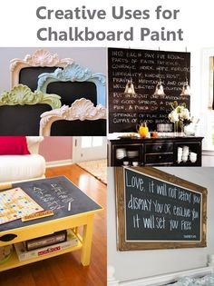 Dishfunctional Designs: Chalk It Up! Creative Uses for Chalkboard Paint - Love it! The platter would be adorable hanging inside a cafe with the specials written on it :) the kitchen wall is gross though..all the chalk dust would get in your food