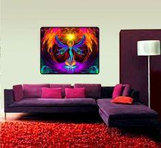 "Psychedelic Tapestry, Chakra Art, Reiki Healing, Meditation Room Decor, ""Phoenix Rising"" 40"" x 50"""